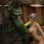 Monstro de pau enorme fodendo mulher gostosa hentai 3D