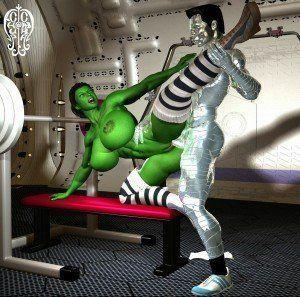 Colossus fodendo a mulher Hulk