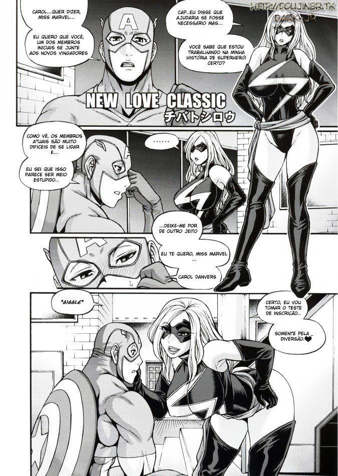 Capitão América pegando à peituda Capitão Marvel