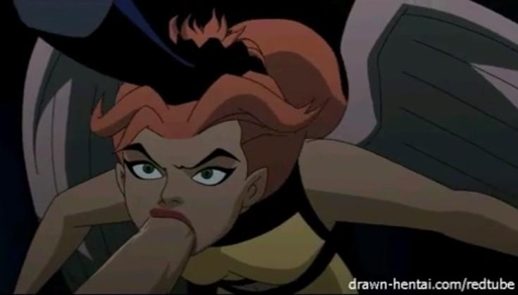 Batman hentai com Mulher Gavião fazendo boquete