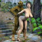 Garota peituda hentai 3D fodida por monstro pauzudo