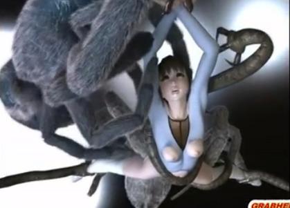 Anime 3D com novinha estuprada aranhas