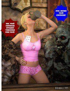 Novinha jogando stripper poker com monstros em hentai zoofilia