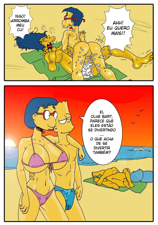 Marge Simpson na praia transa com Milhouse