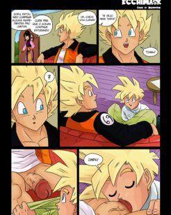 Goku cuidando de Gohan