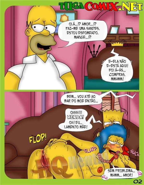 Marge traindo Homer com filho