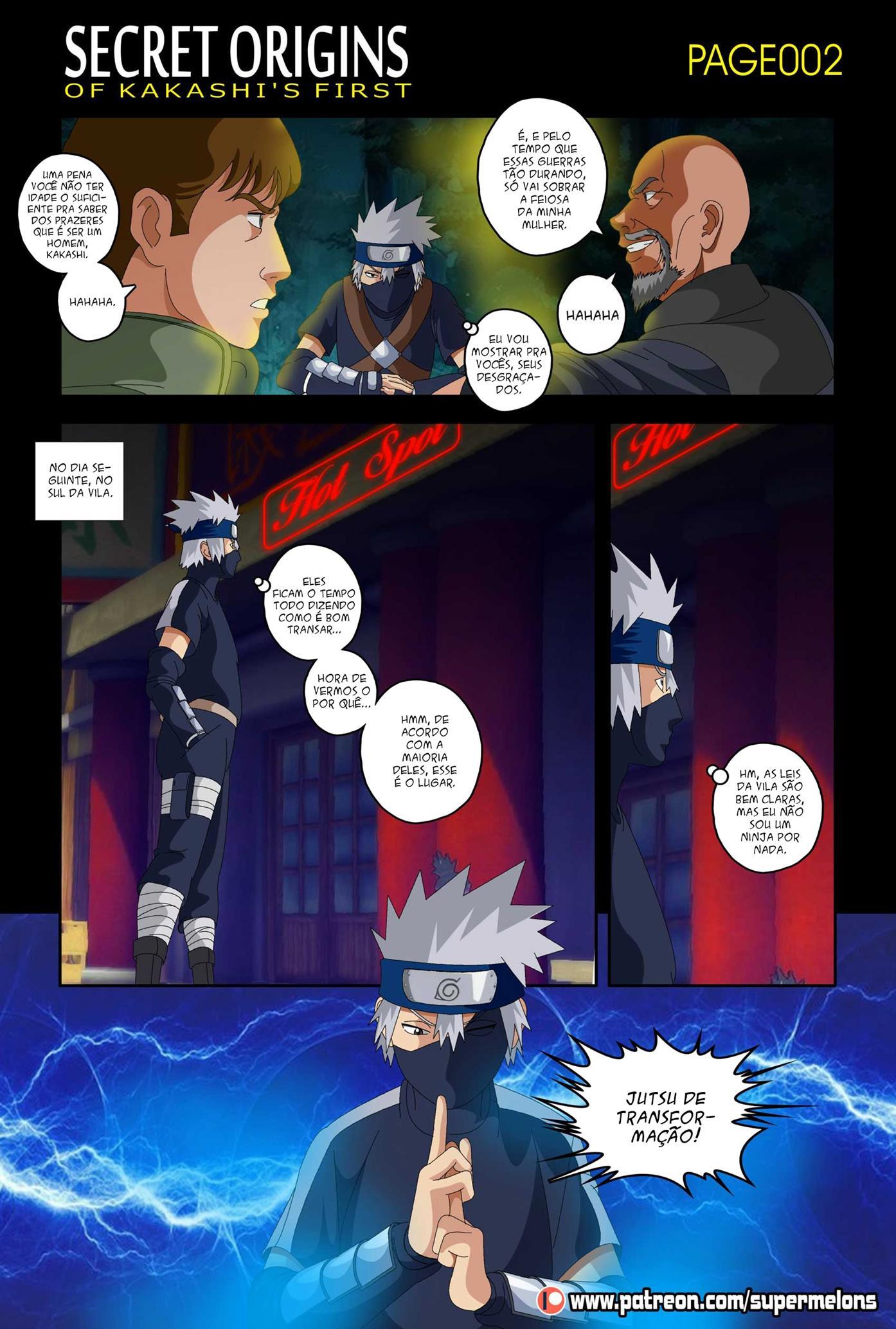 A primeira vez de Kakashi, com à mãe de Naruto