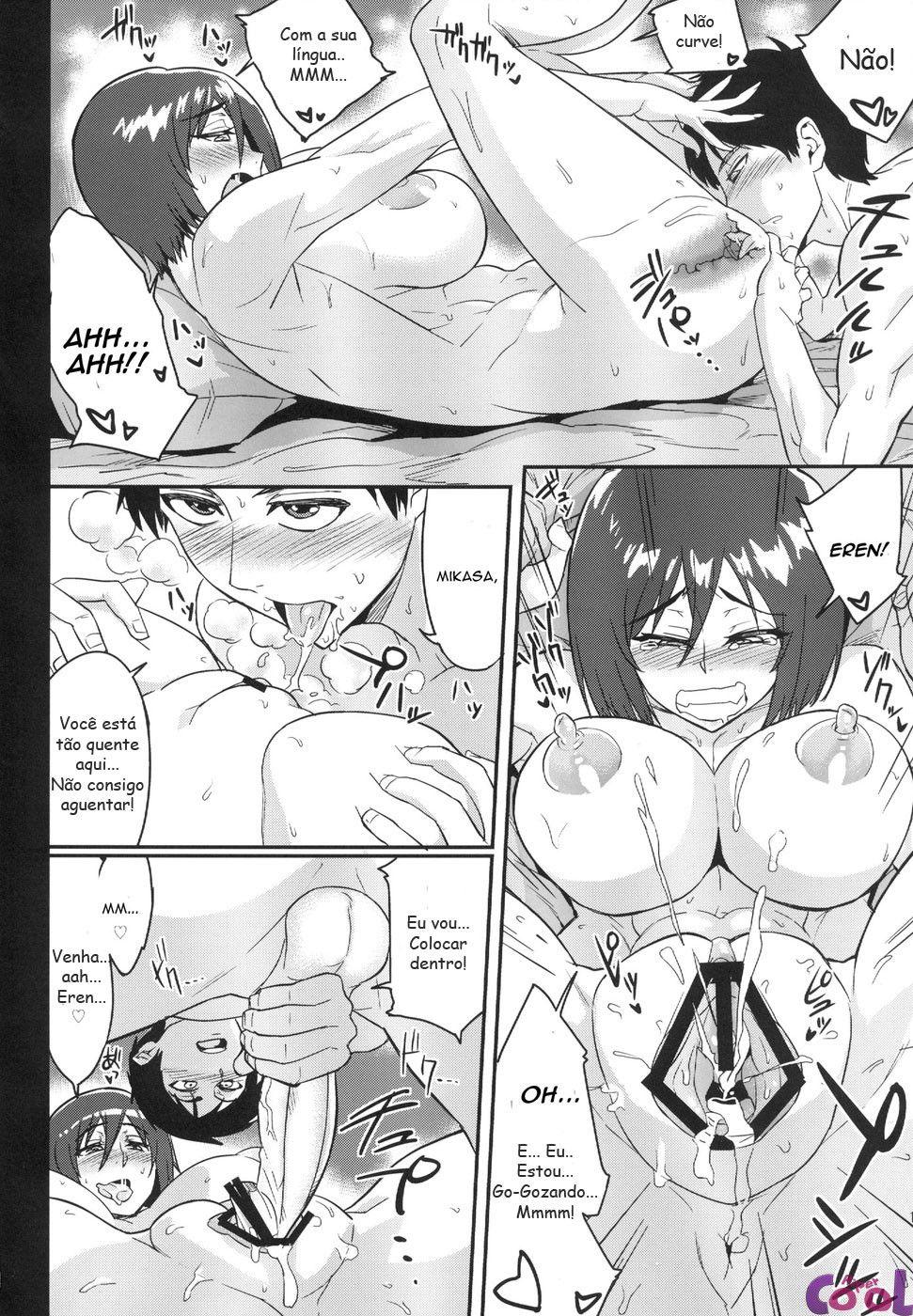 Eren gozando na sua amada Mikasa